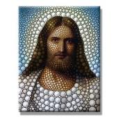 Modern Canvas Print Jesus Christ Lord Savior Poster Print Artwork Circle Portrait Giclee 20 x 24 Inch