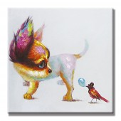 Dog And Naughty Birds Hand Painted Oil Painting With Stretched Frame Wall Art 24 x 24 Inch