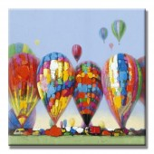 Colorful Balloons Hand Painted Oil Painting With Stretched Frame Wall Art 24 x 24 Inch