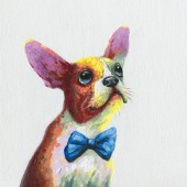 Cute Dog Hand Painted Oil Painting With Stretched Frame Wall Art 24 x 24 Inch