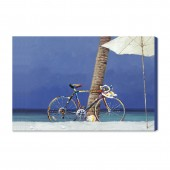 Cycling And Beach Hand Painted Oil Painting With Stretched Frame Wall Art 24 x 36 Inch