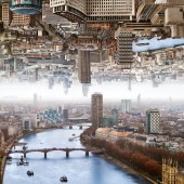 Surreal Modern Giclee Canvas Prints Double Landscape of London City 24 x 24 Inch