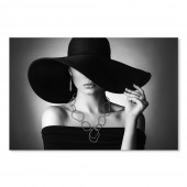 Modern Canvas Inkjet Print Art Figure Black Hat Wall Pictures Giclee Print on Canvas Stretched 24 x 36 Inch
