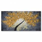 3 Panels 3D Hand-Painted Knife Palette Floral Paintings on Canvas Abstract Gold Flowers Wall Art For 20 x 40 Inch