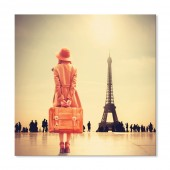Modern Canvas Inkjet Print Art Landscape Girl with Suitcase Wall Pictures Giclee Print on Canvas Stretched 32 x 32 Inch