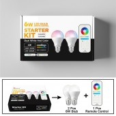 GLEDOPTO ZigBee Samrt Led Bulb 2 Pack Color Changing(RGB & CCT) E27 E26 6W Bulb Light Compatible With Amazon Alexa ,Zigbee Hub