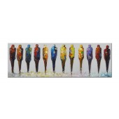 100% Hand Painted Oil Painting Abstract People in Colorful Canvas 16 x 48 Inch