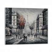 100% Hand Painted Oil Painting Abstract People Walking In The City Canvas Wall Art 32 x 40 Inch