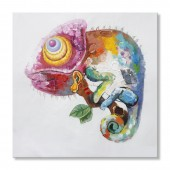 Animal Chameleon 100% Hand Painted Oil Painting 24 x 24 Inch