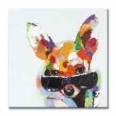 Animal Cool Dog 100% Hand Painted Oil Painting 24 x 24 Inch