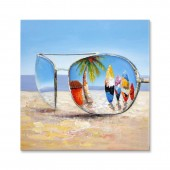 Landscape Beach In Glasses 100% Hand Painted Oil Painting 32 x 32 Inch