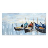 100% Hand Painted Oil Painting Landscape Abstract Blue Boats Modern Decorative Artwork 24 x 48 Inch