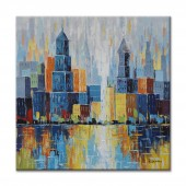 Hand Painted Oil Painting Landscape City Scape in knife pallet II 32 x 32 Inch