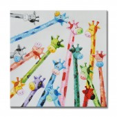 Animal Colorful And Cute Giraffe Canvas Print Plus Hand Touched 32 x 32 Inch