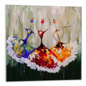 100% Hand Painted Oil Painting Abstract Contemporary Art Dancers II 32 x 32 Inch