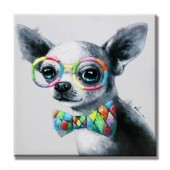 Animal Dog With Colorful Glasses 100% Hand Painted Oil Painting 32 x 32 Inch
