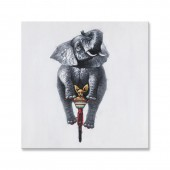 Animal Elephant and Dog 100% Hand Painted Oil Painting 24 x 24 Inch