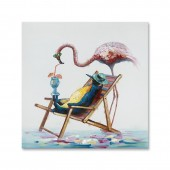 Animal Flamingo And Penguin Vacation 100% Hand Painted Oil Painting 24 x 24 Inch