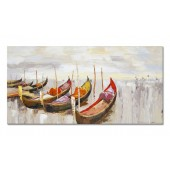 100% Hand Painted Oil Painting Landscape Abstract Blue Boats Modern Decorative Artwork 16 x 36 Inch