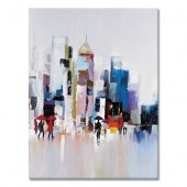 100% Hand Painted Oil Painting Landscape City Skyline II 30 x 40 Inch