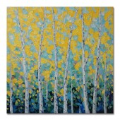 Hand Painted Oil Painting Landscape Minty Forest Canvas Wall Art 32 x 32 Inch