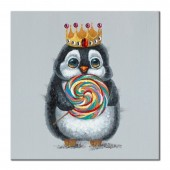 Animal Penguin Eat Lollipop100% Hand Painted Oil Painting 32 x 32 Inch