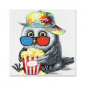 Animal Penguin Eat Popcorn 100% Hand Painted Oil Painting 24 x 24 Inch