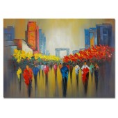 100% Hand Painted Oil Painting Landscape Abstract People In The City I 32 x 48 Inch