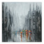 Hand Painted Oil Painting Landscape People in the Street Canvas Wall Art 32 x 32 Inch