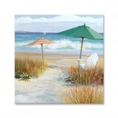 Landscape Summer Beach I 100% Hand Painted Oil Painting 32 x 32 Inch
