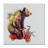 Animal The bear to ride a bike 100% Hand Painted Oil Painting 32 x 32 Inch
