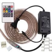 5050 RGB LED Strip AC 220V 110V Waterproof Flexible Ribbon Light Set Lighting Kit