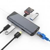 7 IN 1 USB C HUB USB-C HDMI Ethernet Rj45 Adapter 4K USB 3.1 SD/TF Card Reader for MacBook Pro iPad Type C Hub Hdmi