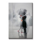 Kisses In The Rain Hand Painted Oil Painting with Stretched Frame Wall Art 24 x 36 Inch