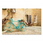 Canvas Wall Art Landscape Blue Bicycle Wall Pictures Giclee Print on Canvas Stretched 24 x 36 Inch