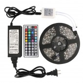 5M 5050 RGB LED Strip Lighting Kit Power Supply with IR Remote Controller