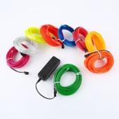 Sewable EL Wire Tron Led Tape Glow Wire Light Easy Sew Tag Strip Tube 2Pcs 3m/5m