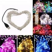 5M 10M USB Led String Lights DC 5V USB Powered Led Fairy Light Warm White Silver Wire