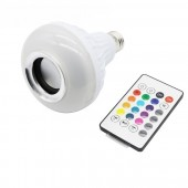 Smart RGBW Wireless Bluetooth Speaker Bulb Music Playing Dimmable 12W E27 LED Bulb Light Lamp +24 Keys Remote Control