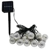 Waterproof 20 LED Solar Powered Fairy Light Moroccan Lantern Silver Metal Globe String Lights Lamp For Christmas Tree