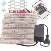 5M 220V LED RGB Strip 5050 120V Outdoor Tira Flexible Ribbon RGB Controller Neon Flex Adapter Plug Kit