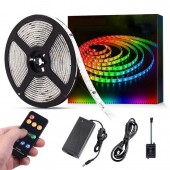 LED Strip Lights With Music Sync Chase Effect Dream Color Music Lights 32.8ft 5050SMD RGB Rope Lights With RF Remote 12V Power Supply 300LEDs Splash Proof Flexible String Lights for Indoor Bedroom