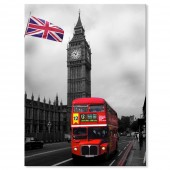 Modern Giclee Canvas Prints Black and White London Big Ben and Red Bus 24 x 32 Inch