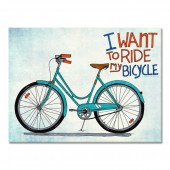 I Want to Ride My BicycleModern Canvas Print Motivational Words 24 x 32 Inch