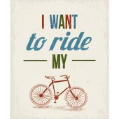 I Want to Ride My Bicycle Modern Canvas Print Motivational Words for Life Giclee Print on Canvas 20 x 24 Inch