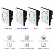 New 86 Sty Touch Panel Switch DC12V 24V Controller Light Dimmer Single Color/CT/RGB/RGBW LED Strip Tempered Glass Wall Switch