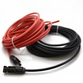 1 Pair 2 Meter 1x4mm2 Solar Cable With Connector, Red Female, Black Male , MC-4 Solar Panel Cable Connector