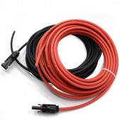 1 Pair 6 Meter 1x4mm2 Solar Cable With Connector, Red Female, Black Male , MC-4 Solar Panel Cable Connector