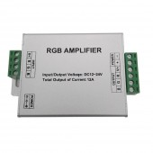 RGB Amplifier Repeater Aluminum Case Controller DC12-24V 12A for SMD 3528 5050 RGB LED Strip Light Console Controller