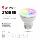 RGB And Dual White 5W E27 PAR16 LED Spotlight RGBW/CW 2700-6500K LED Bulb AC100-240V Zigbee Zll Work With Alexa Puls Lled Lamp